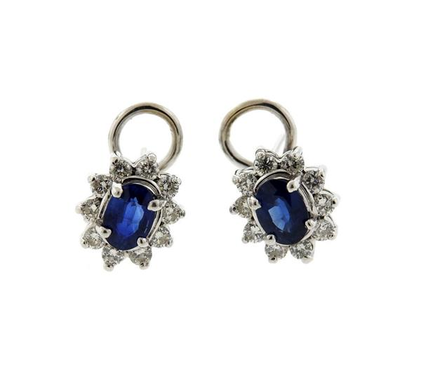 14K Gold Diamond Sapphire Earrings