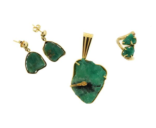 18K 14K Gold Emerald Crystal Pendant Earrings Ring Set