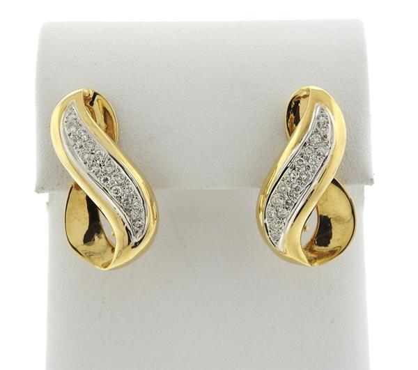 14K Gold Diamond Infinity Earrings