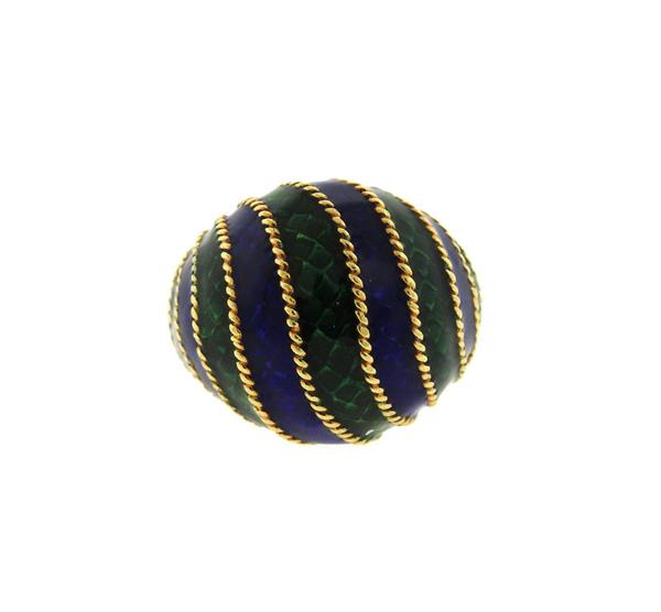 Italian 18K Gold Enamel Dome Ring
