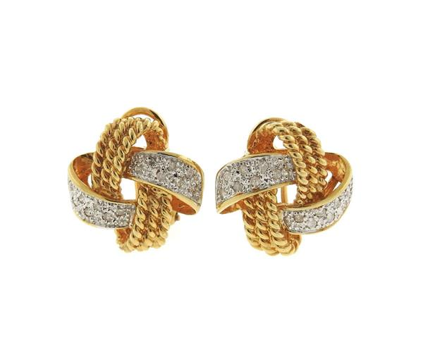 14K Gold Diamond Knot Earrings