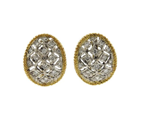 14K Gold Diamond Oval Earrings