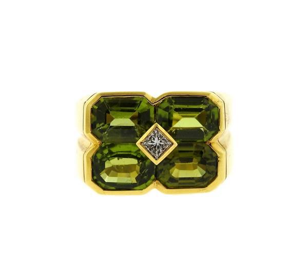 18K Gold Peridot Diamond Ring