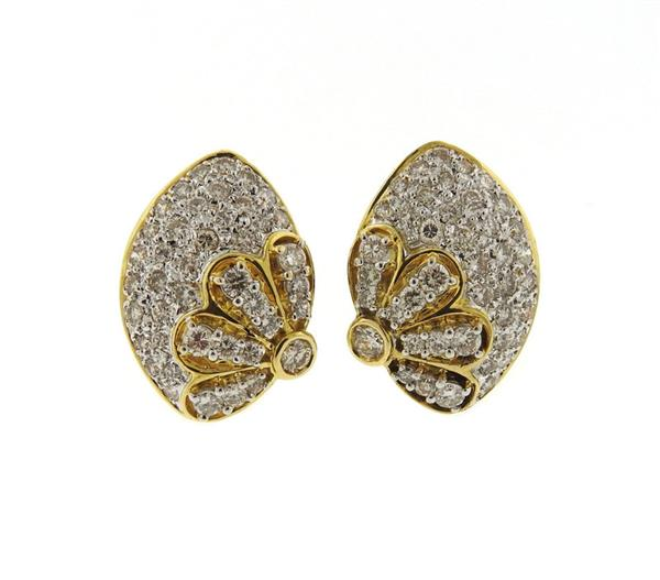 18K Gold Diamond Floral Earrings