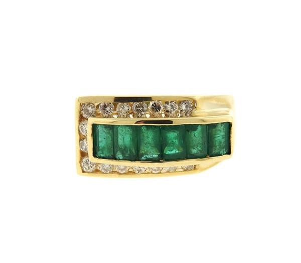 14K Gold Emerald Diamond Band Ring