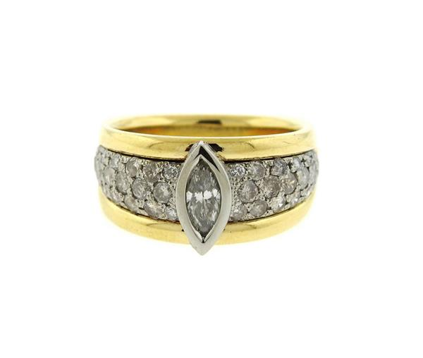 18K Gold Diamond Engagement Ring