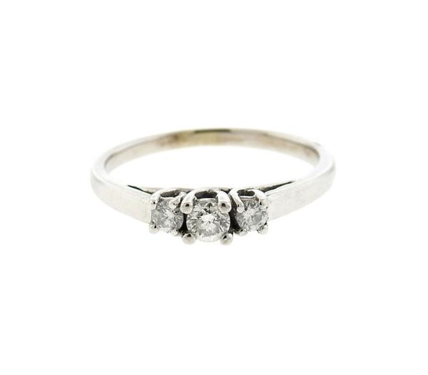14K Gold Diamond 3 Stone Engagement Ring