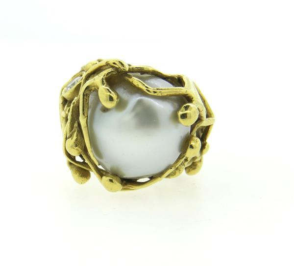 Naturalistic 18K Gold Diamond Pearl Ring