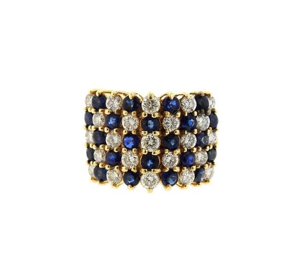 14K Gold Diamond Sapphire Dome Ring
