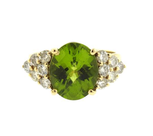 14K Gold Peridot Diamond Ring