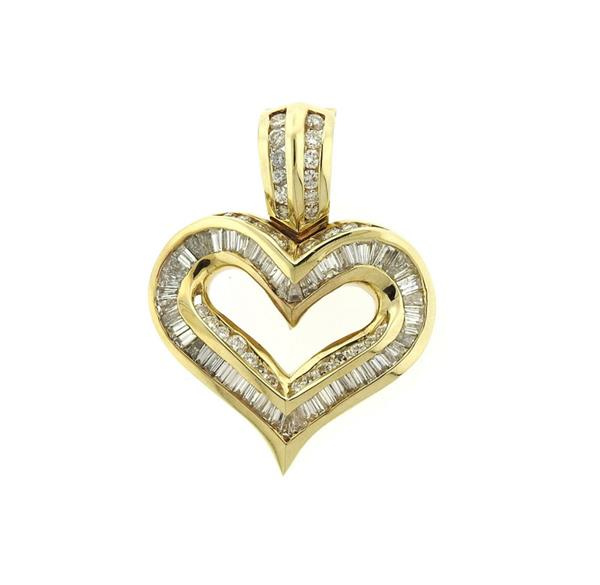 14K Gold 4.00ctw Diamond Heart Enhancer Pendant