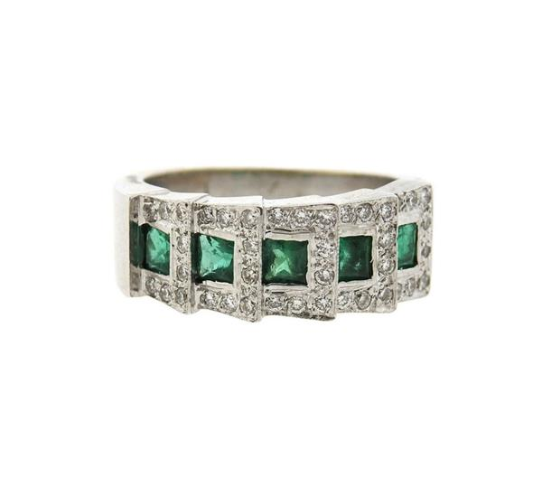 18K Gold Diamond Emerald Band Ring