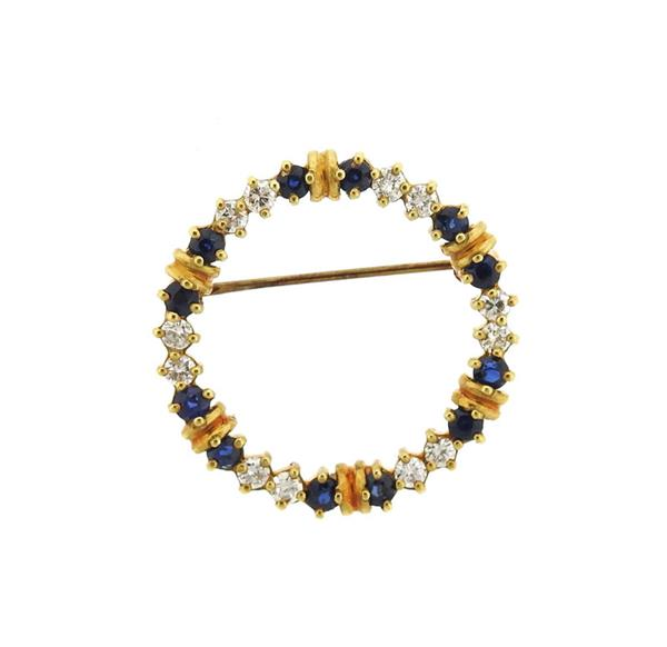 18K Gold Diamond Sapphire Open Circle Brooch Pin