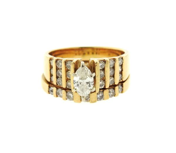 14K Gold Diamond Engagement Wedding Ring Set