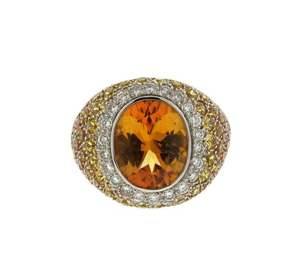 18K Gold Citrine Diamond Ring