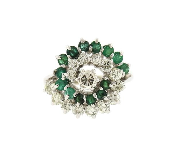 14K Gold Diamond Emerald Swirl Cluster Ring