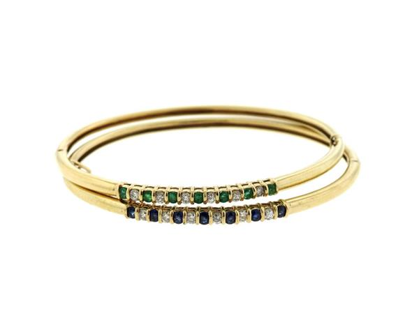 14K Gold Diamond Emerald Sapphire Bangle Bracelet Lot of 2