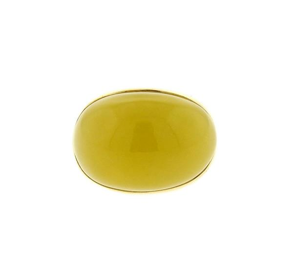 Large 14K Gold Lemon Jade Dome Ring