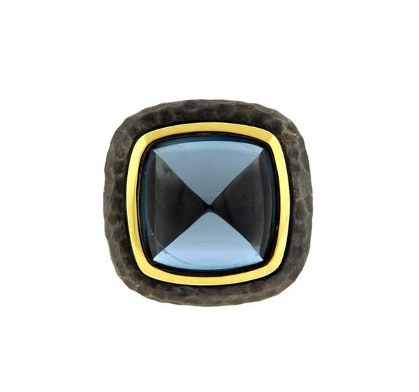 David Yurman 18K Gold Blackened Sterling Blue Topaz Ring