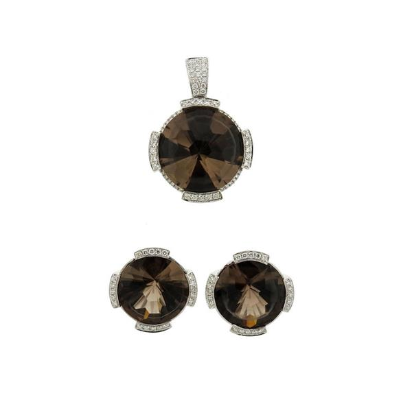 14K Gold Diamond Smoky Topaz Earrings Pendant Set