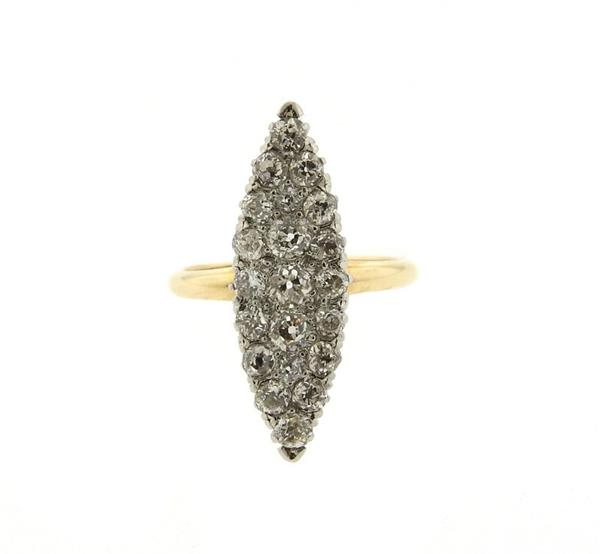 Antique Victorian 14K Gold Diamond Cocktail Ring