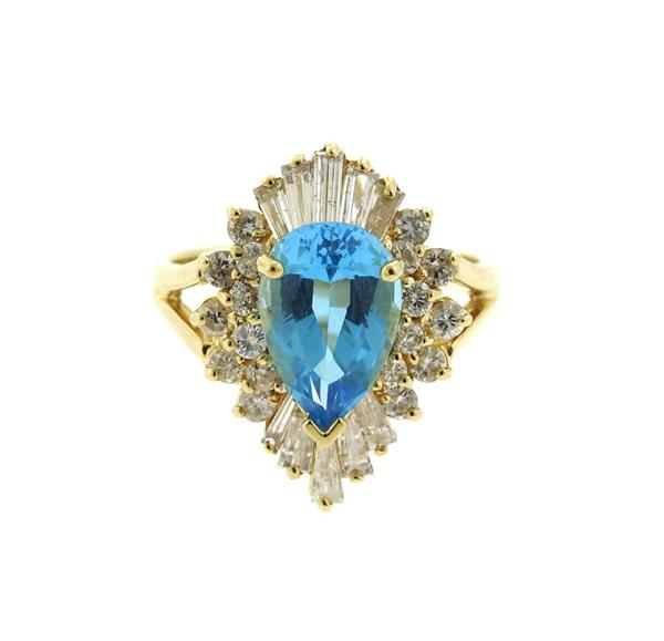 14K Gold Diamond Blue Topaz Cocktail Ring