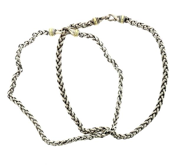 David Yurman Sterling 14K Gold Wheat Chain Necklace Set of 2