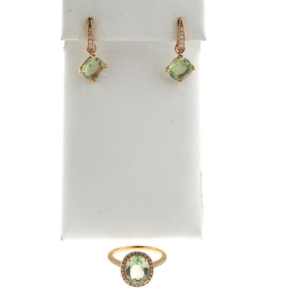 Suarez 18k Gold Green Gemstone Earrings Ring Set
