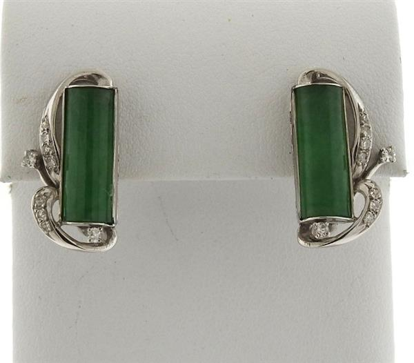 14k Gold Diamond Jade Earrings