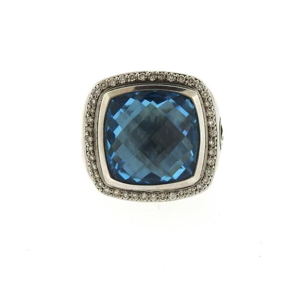 David Yurman Albion Sterling Topaz Diamond Ring