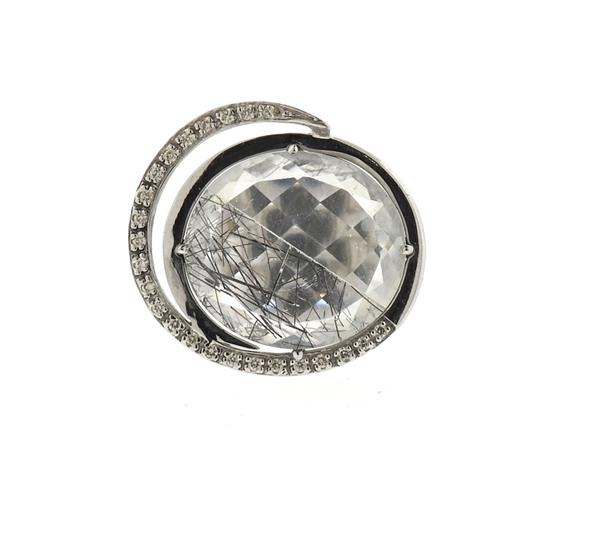 Modern 18k Gold Diamond Rutilated Quartz Ring