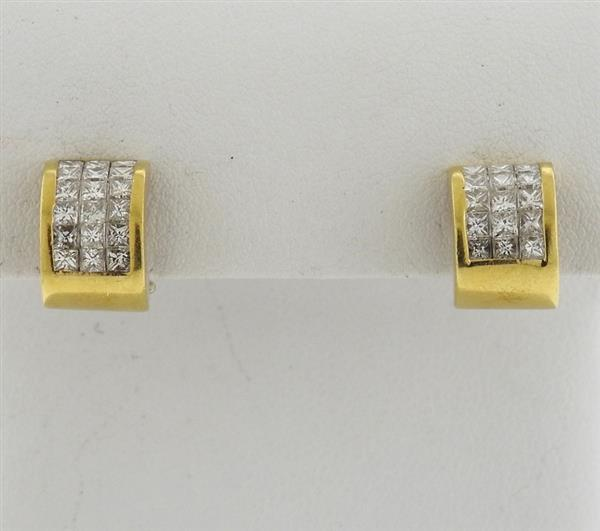 18k Gold Diamond Huggie Hoop Earrings