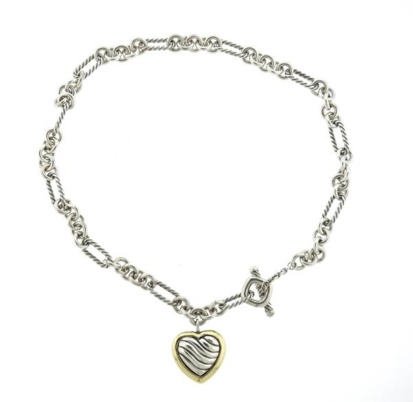 David Yurman 14k Gold Sterling Heart Charm Necklace