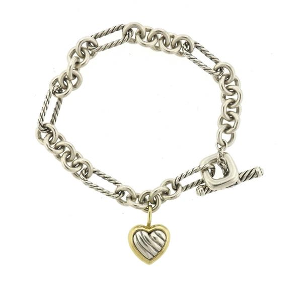 David Yurman Sterling 18k Gold Charm Bracelet