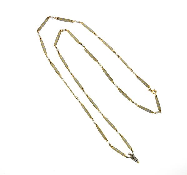 French Art Deco Platinum 18k Gold Enamel Diamond Necklace