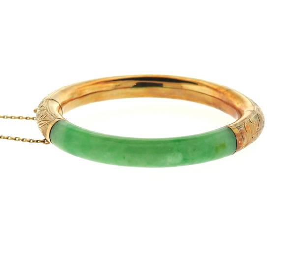 14k Gold Jade Bangle Bracelet