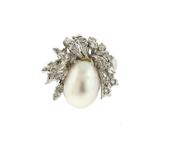 18k Gold Diamond Pearl Ring