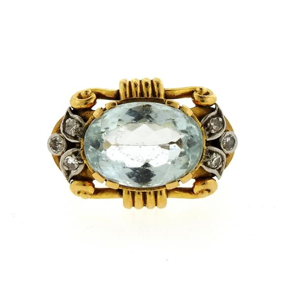 18k Gold Diamond Blue Gemstone Diamond Ring