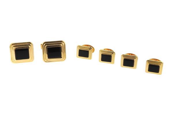 14k Gold Onyx Cufflinks Stud Dress Set
