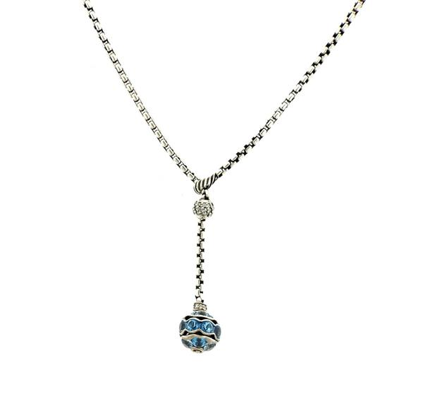 David Yurman Sterling Diamond Topaz Lariat Necklace
