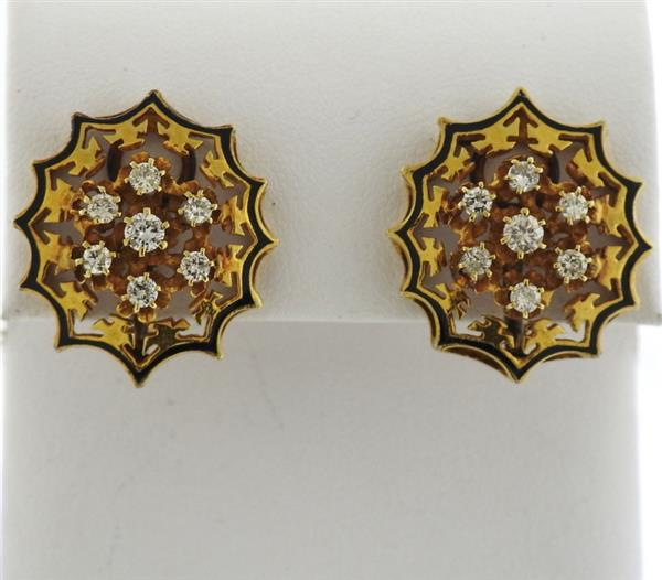 Mid Century 14k Gold Diamond Enamel Earrings
