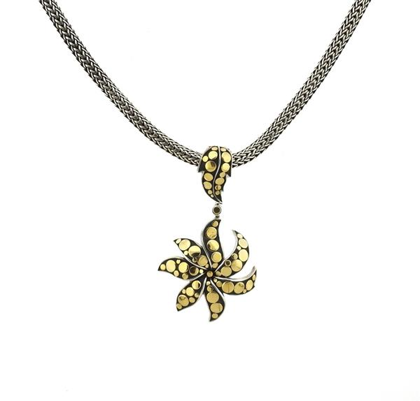 John Hardy Dot Sterling 18k Gold Pendant Necklace