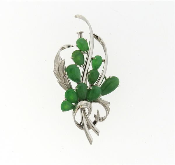 14k Gold Jade Brooch Pin