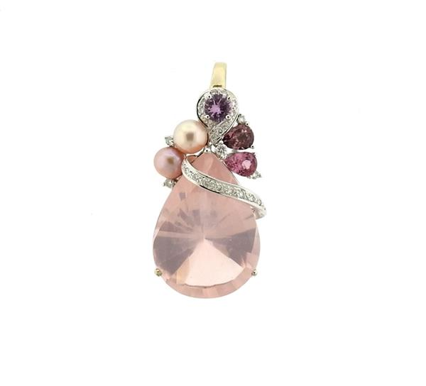 18k Gold 39ct Rose Quartz Diamond Gemstone Pendant Enhancer
