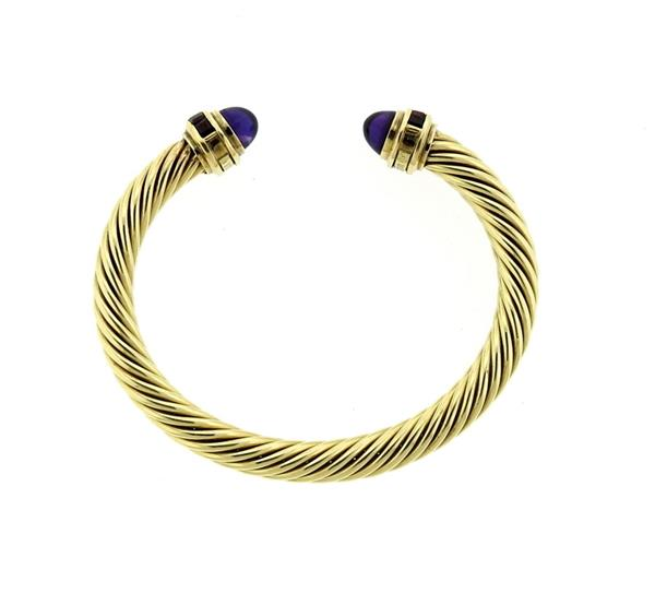 David Yurman 14k Gold Amethyst Cable Bracelet