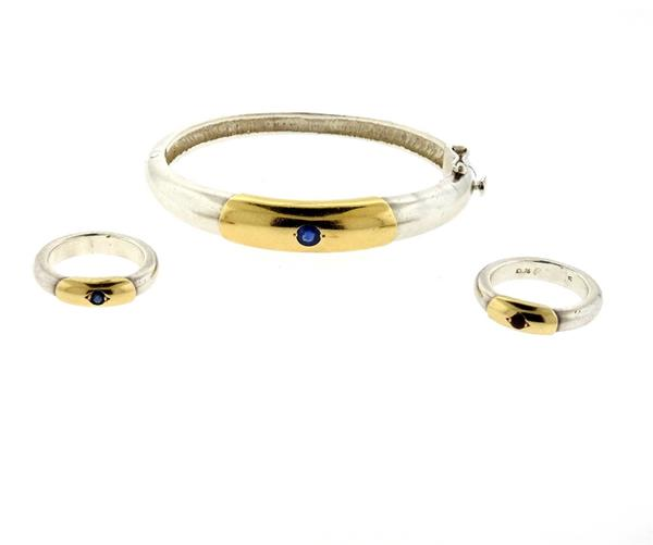 Lalaounis Greece Sterling 18k Gold Sapphire Ruby Bracelet Ring Lot of 3