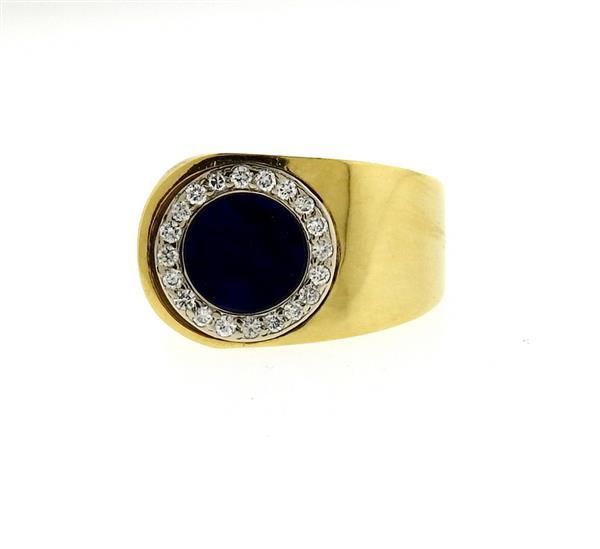 18k Gold Diamond Lapis Lazuli Ring