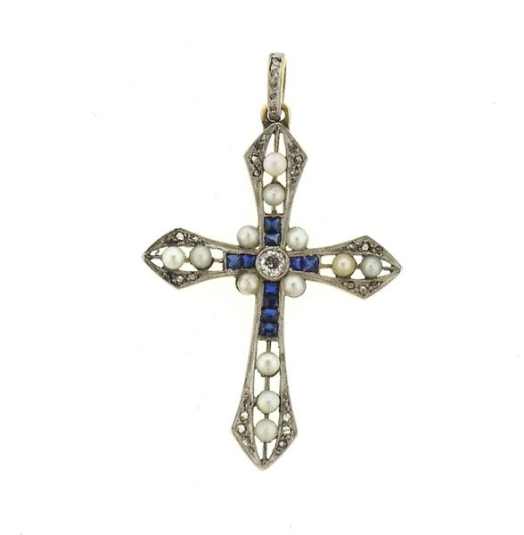 Art Deco 18k Gold Platinum Diamond Sapphire Cross Pendant