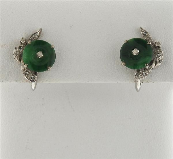 14k Gold Jade Diamond Earrings