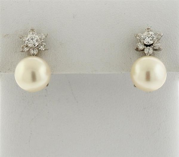 Mid Century 18k Gold Diamond Pearl Earrings